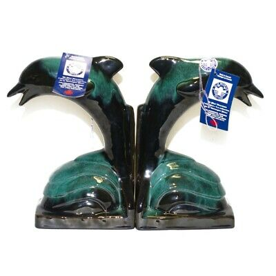 $ CDN59.99 • Buy Vintage Blue Mountain Pair Dolphin Bookend Canadian Pottery Green Glaze With Tag