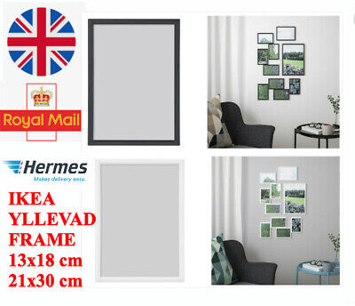 IKEA  YLLEVAD Photo Frame Picture Document White Black 13x18 21x30 (A4) • 3.99£