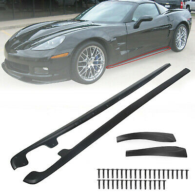 $75.99 • Buy 2PCS BLACK Side Skirts Rocker Panels For 05-13 Corvette C6 Z06 ZR1 Style