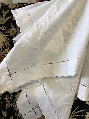 "Superb Chateau Antique FRENCH White CURTAIN DRAPERY Or Tablecloth 32""/32"" • 22£"
