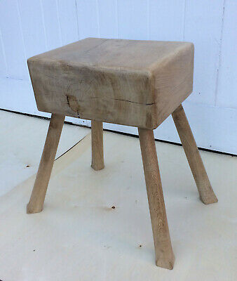 Antique Vintage Reclaimed Pale Oak Butchers Block Stool Country Kitchen Rustic • 150£