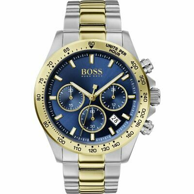Brand New Hugo Boss Hb1513767 Mens Chronograph Watch Gold & Silver - Blue Dial • 99£