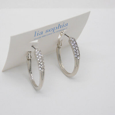 $ CDN10.81 • Buy Lia Sophia Jewelry Cut Crystals Dipped Hoop Earrings Polished Jewelry For Woman