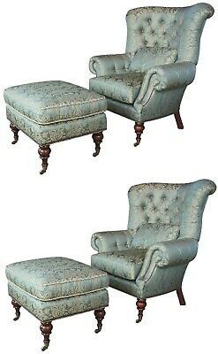 $5100 • Buy 2 EJ Victor Beacon Hill Wingback Kensington Tufted Arm Wing Chairs & Ottomans