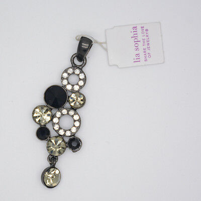$ CDN8.14 • Buy Lia Sophia Signed Black Tone Slide Cut Crystals Necklace Pendant For Women Gifts