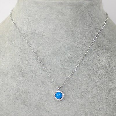 $ CDN9.50 • Buy Lia Sophia Signed Jewelry Candy Dot CZ Crystal Cute Bule Pendant Necklace Chain