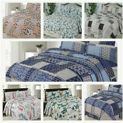 £25.65 • Buy 3 Pcs Quilted Bedspread Embossed Comforter Set Single Double King Size Bed Throw