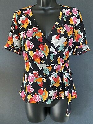 $12 • Buy Women's ZARA Floral Wrap Blouse Trafaluc Collection Size Small SS W/ruffles
