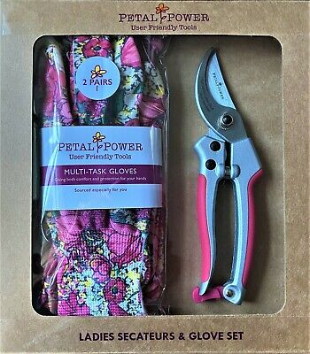 Ladies Gardening Gloves (2 Pairs) And Secateurs Set - Ideal Ladies Garden Gift  • 19.95£