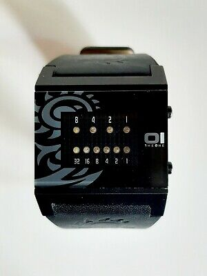 $54.95 • Buy 01 The One Kerala Trance Binary Watch: Black Leather Band Near Mint New Battery