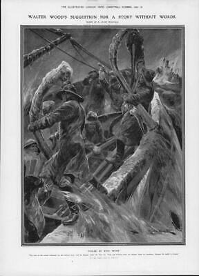 1906 FINE ART Antique Print - Caton Woodville Foiled King Frost Walter Wood(338) • 21£