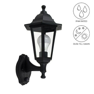 Traditional Outdoor Wall Lantern Dusk Till Dawn Sensor LED Bulb Security Light • 18.99£