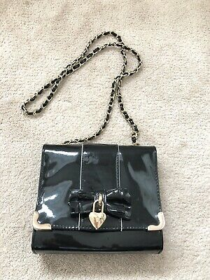 Kelly Brook Black Patent Cross Body Chain Bag Strap Vintage Retro Pin Up Style • 0.99£