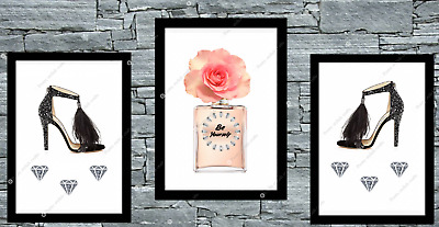 Set Of 3 Pink Rose Gold Prints Wall Art Bedroom Beauty Room Home Decor Poster • 8.50£