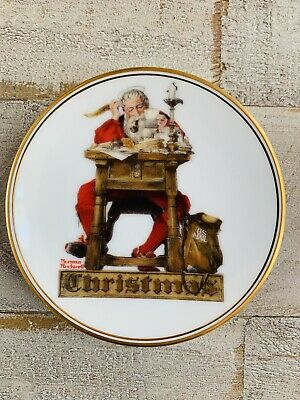 "$ CDN10.60 • Buy The Best Of Norman Rockwell - 1983 Miniature Collectors Plate ""Santa's Mail"" COA"