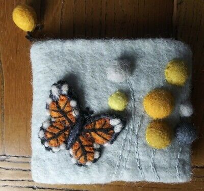 $7 • Buy Wild Woolies Monarch Butterfly Coin Purse - Felted Wool