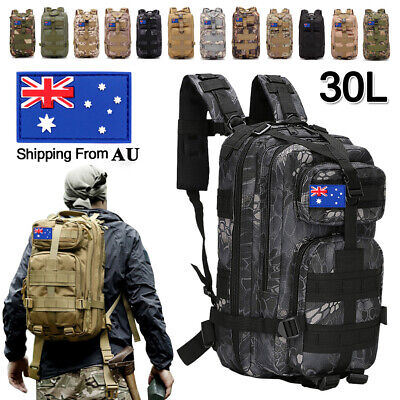AU29.59 • Buy 30L Military Backpack Tactical Camping Hiking Travel Rucksack Outdoor Sport