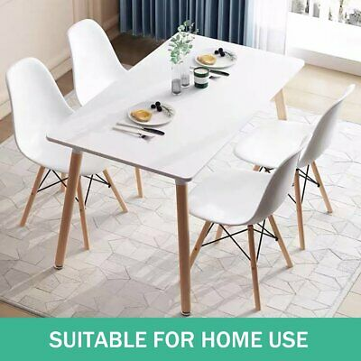 AU136 • Buy Dining Table Wooden Kitchen Cafe Restaurant Top Solid Wood White 4 Seater AU