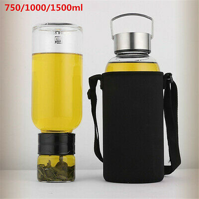 750/1000/1500ml Portable Large Glass Water Bottle With Tea Infuser Travel  • 17.53£