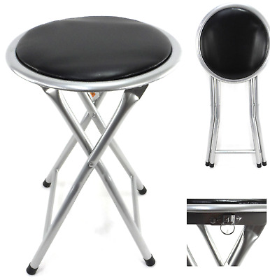 Compact Folding Padded Stool Seat Chair Breakfast Bar  Home Office Seating BK • 11.99£