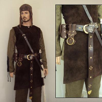 Medieval Brown Leather Long Belt & Brass Accents Costume Re-enactment & Stage  • 34£