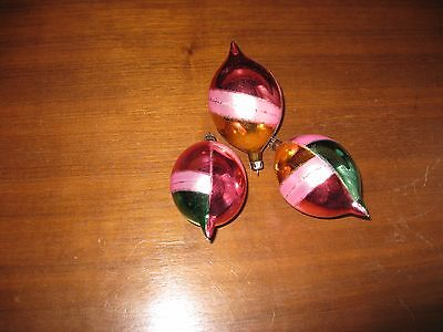 $ CDN9.99 • Buy Vintage Christmas Ornaments,lot Of 3, Glass, Made In Poland, Teardrop Shape.