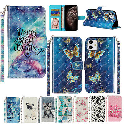 AU17.98 • Buy Pattern Leather Wallet Strap Card Case Cover For IPhone 11 Pro Max/XR/8/7/SE 2nd