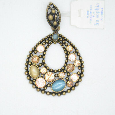$ CDN10.86 • Buy Lia Sophia Woman Jewelry Vintage Gold Cut Crystals Necklace Pendant Opal Slide
