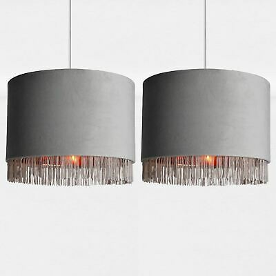 Set Of 2 Modern Velvet Grey Tassel Ceiling Light Shade Easy Fit Pendants • 29.99£