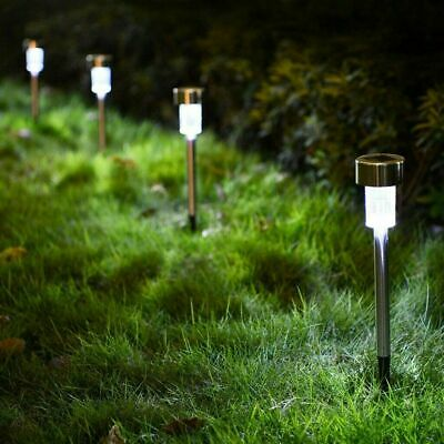10x Solar Power LED Stake Lights Patio Outdoor Garden Lawn Path Lamp White • 9.99£