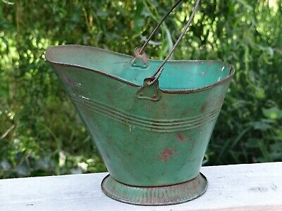 $ CDN47.37 • Buy Antique Salesman Sample Child's Toy Green Painted Tin Coal Bucket Scuttle Pail