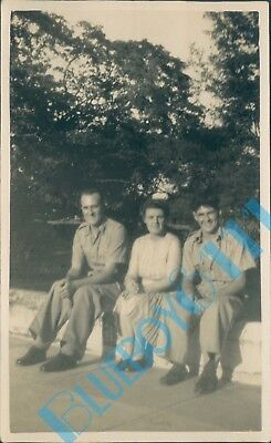 Post  WW2 Photo Soldiers In Tropical Uniform With Lady 5 X 3 Inches • 5.46£