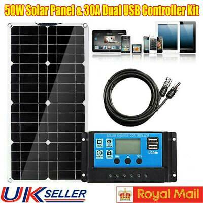 50W Flexible Solar Panels Kit Battery Home Camp With 30A Charge Controller UK • 42.99£