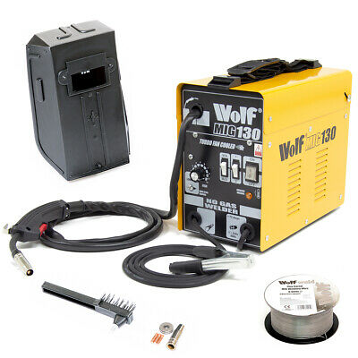 Wolf MIG 130 Portable Welder 230v DC No Gas Welding Gasless 120A 120 Amps • 93.99£