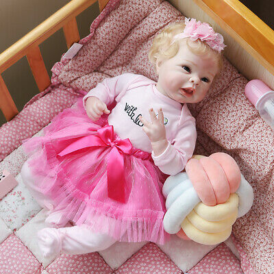 $ CDN77.34 • Buy Reborn Baby Dolls 22  Silicone Vinyl Handmade Girl Boy Gift Soft Cloth Body 55CM