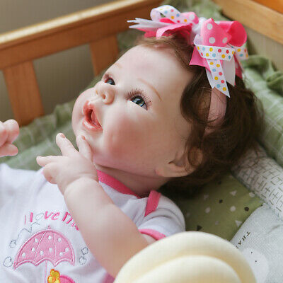 $ CDN77.34 • Buy Reborn Baby Dolls 22  Silicone Vinyl Handmade Girl Boy Gift Soft Cloth Body 1806