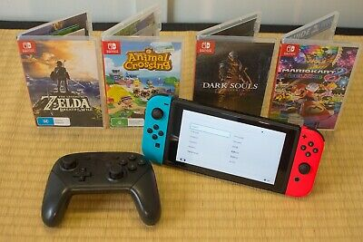 AU475.05 • Buy Nintendo Switch 32GB Neon Blue/Red W/ Pro Controller And 4 Games