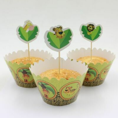 £3.29 • Buy Jungle Animal 12 Wrappers & 12 Toppers Children Party Muffin Cupcake Decoration