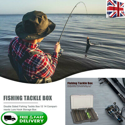 Double Sided Fishing Tackle Box 12 14 Compartments Bait Lure Hook Storage Box UK • 4.59£