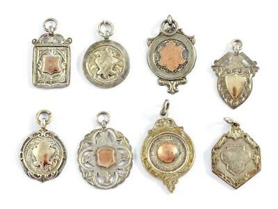 8x VINTAGE 1920s/30s STERLING SILVER POCKET WATCH FOBS/MEDALS - GILT - FANCY • 21£