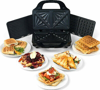 £39.99 • Buy Salter Deep Fill 3 In 1 Snack Maker Waffle Pannini Toasted Sandwich Changeable