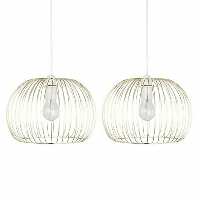 Set Of 2 Gold Satin Brass Wire Easy Fit Ceiling Light Shade Pendant Lightshade • 19.99£