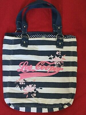 Lee Cooper Summer Beach Bag White With Blue Stripes • 7.99£
