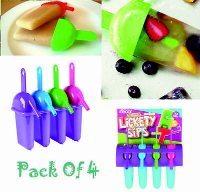 4x Lickety Sips Ice Pop Lolly Maker Moulds Popsicle Push Up BPA Free UK Kids • 4.95£