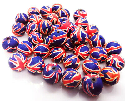 Union Jack Clay Beads 12mm, Pack Of 20 Jewellery Making Crafts • 1£