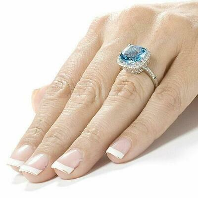 5Ct Cushion Cut Topaz Diamond Accent Halo Engagement Ring 14K White Gold Over • 99.99£