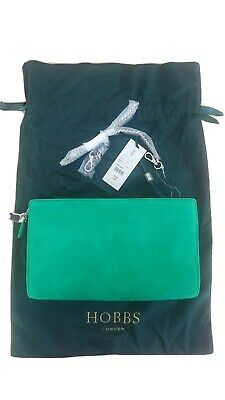 Hobbs London Ashley Clutch Bag In Green Suede With Chain Strap • 40£