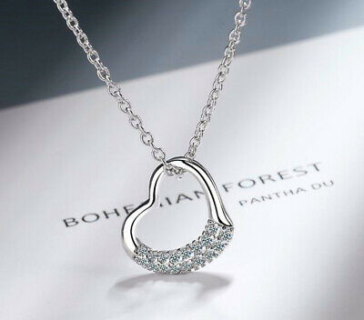 £3.49 • Buy Crystal Heart Pendant 925 Sterling Silver Chain Necklace Womens Jewellery New UK