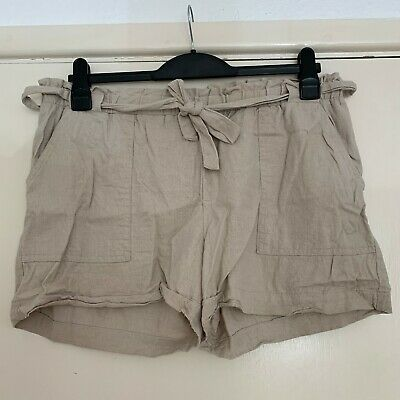 Primark Linen Shorts Trousers Beige Sand Safari Jungle Adventure Relaxed Holiday • 12£