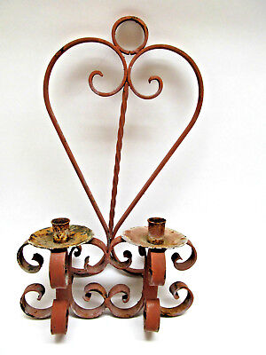 Vintage Rustic Heavy Wrought Iron Candle Wall Sconce • 30.80£
